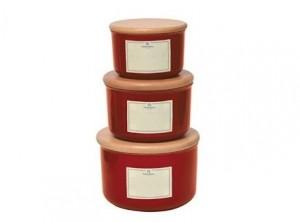 barattolo cucina ceramica emile henry tappo legno rosso granade