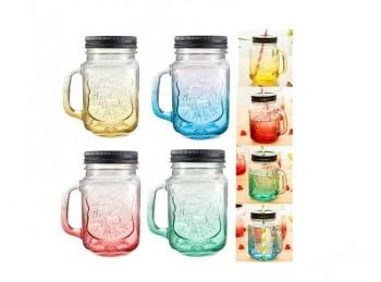 bicchiere vetro con manico coperchio e cannuccia per aperitivi