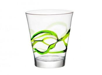bicchiere tavola vetro colorato bormioli cera lacca verde