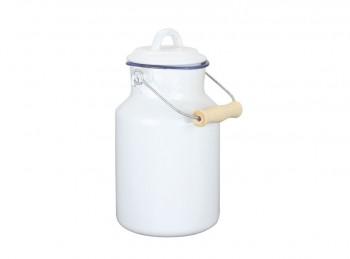bidone latte della nonna in ferro smaltato bianco