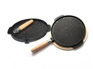 bistecchiera grill doppio uso liscia rigata antiaderente