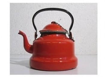 bricco teiera smalto rosso da fiamma gas