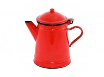 caffettiera vecchio stile smalto rosso da fiamma