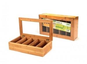 scatola porta bustine thè infuso legno bamboo