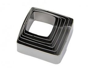 serie 6 anelli coppa pasta acciaio inox quadrato