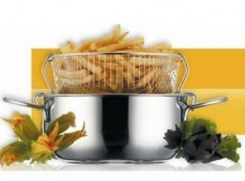 pentola con cestello scola fritto acciaio inox steel pan