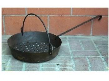 padella cuoci castagne caldarroste ferro