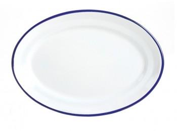 piatto vassoio ovale da portata in ferro smaltato effetto rustico vintage