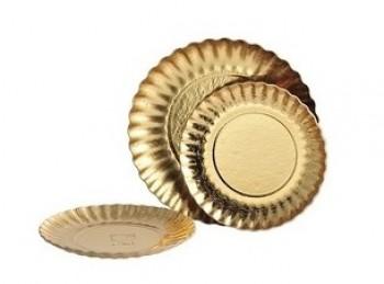 piatto vassoio sottotorta cartoncino oro rotondo