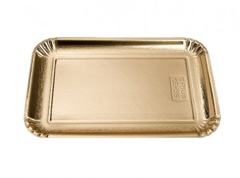 piatto vassoio monouso cartoncino oro rettangolare