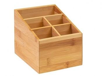 cestino legno a scomparti porta posate e tovaglioli