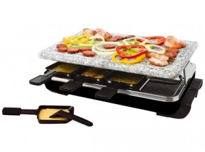 set raclette grill svizzera piastra pietra naturale eva