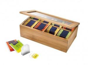 scatola box scomparti servi bustine thè legno