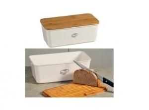 contenitore porta pane in melamina con tagliere bamboo