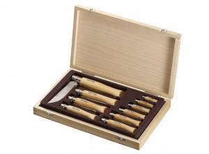 cofanetto legno serie 10 coltelli opinel lama inox collezione
