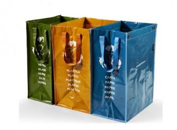 set 3 borsa contenitore per raccolta differenziata rifiuti