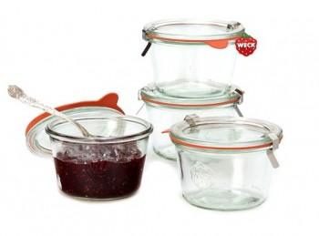 set 4 vasetto barattolo per conserve e marmellata con coperchio originali weck