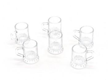 set 6 mini boccale in vetro per grappa e liquore