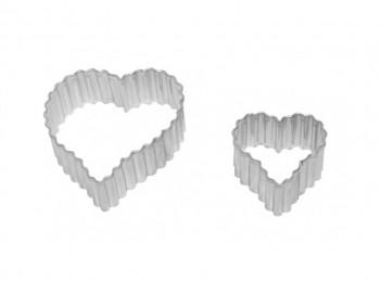 set 2 stampini taglia pasta biscotti frollini cuore ondulato