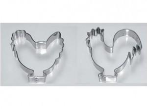 coppia stampi taglia biscotti frollini gallo gallina