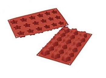 stampo placca silicone 18 mini stelline natale silikomart