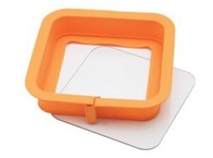 stampo tortiera apribile silicone fondo vetro quadra