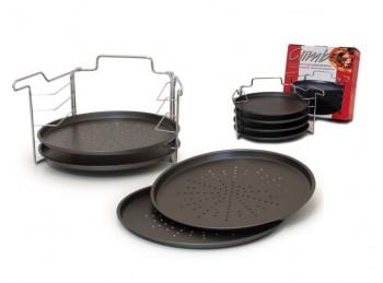 set completo supporto e teglie cuoci pizza antiaderente per forno