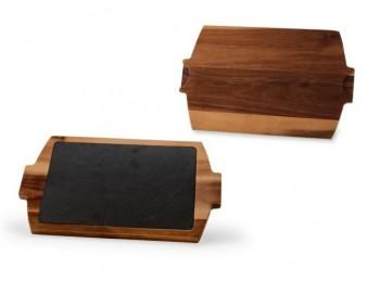 tagliere legno con vassoio inserto in ardesia