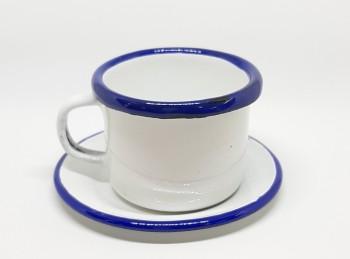 tazzina caffè smalto bianco filo blu con piattino