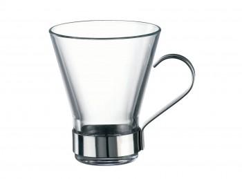 bicchiere tazza te vetro temperato con manico acciaio
